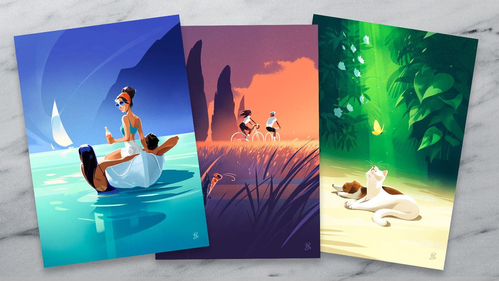 Drei sommerliche Postkarten.